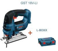Bosch GST 18 V-LI B  Solo - (bez akumulatora un lādētāja) + L-Boxx Koferis / 06015A6101 / Bosch akumulatora figūrzāģis 18 V Li-on, aizvieto veco BOSCH GST 14.4 V Akumulatora figurzāģi.