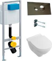 Komplekts:  Tualetes pods piekaramais Villeroy & Boch O'Novo 5660HRR1 alpin, bez apmaliņas + Rāmis tualetes podiem Viega Eco plu
