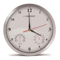 Esperanza EHC008W Sienas pulkstenis ar termometru un gaisa mitruma mērītāju. 30cm alumīnija korpuss