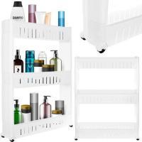 Pārvietojams virtuves/vannas plaukts uz riteņiem, balts P11847