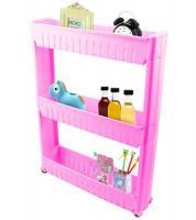 Pārvietojams virtuves/vannas plaukts uz riteņiem, rozā PAG38T