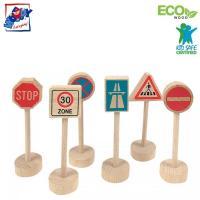 Woody 90575 Eko koka ceļa zīmes visāda veida dzelzceļa un auto trasēm (6gab.) bērniem no 3 gadiem + (10cm) (WD90575)